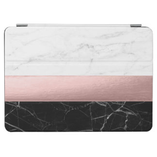 elegant modern clear black white marble rose gold iPad air cover