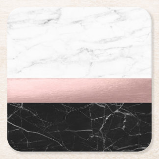 elegant modern clear black white marble rose gold square paper coaster