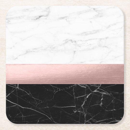 elegant modern clear black white marble rose gold