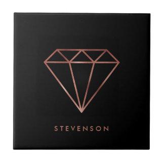 elegant modern clear faux rose gold diamond black tile