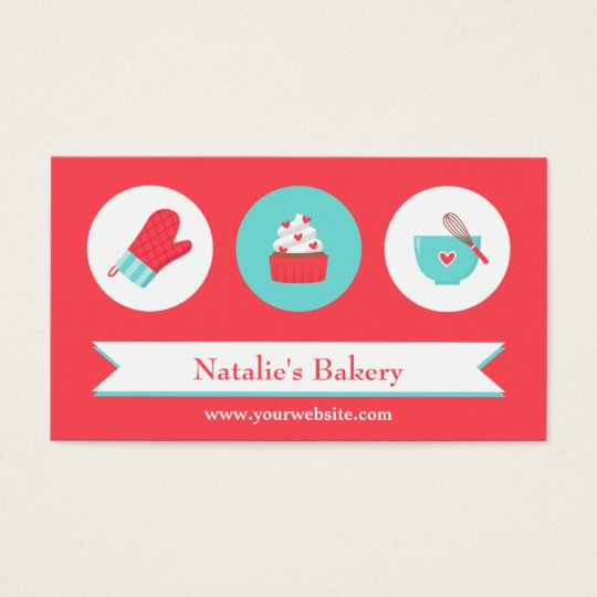 Elegant Modern Cupcake Bakery Cafe Red Turquoise Business