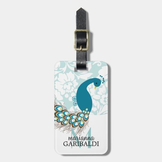 Elegant Modern Damask Peacock Personalised Luggage Tag