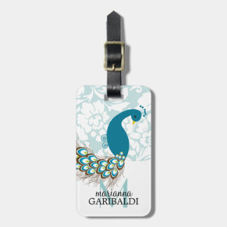 Elegant Modern Damask Peacock Personalized Luggage Tag