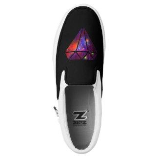 elegant modern diamond nebula colorful pink black slip on shoes