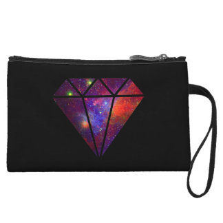 elegant modern diamond nebula colorful pink black wristlet