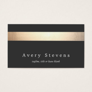 Elegant Modern Faux Gold and Black Striped Business Card