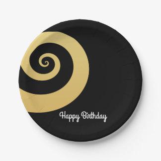 elegant modern faux gold foil geometric spiral 7 inch paper plate