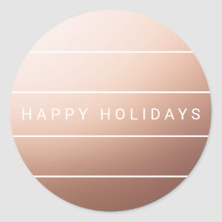 Elegant Modern Faux Rose Gold Foil Happy Holidays Classic Round Sticker