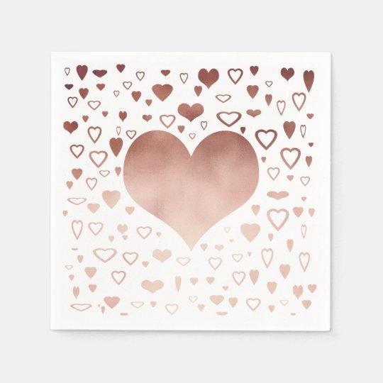 elegant modern faux rose gold hearts pattern disposable