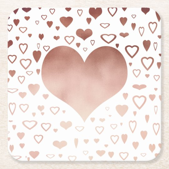 elegant modern faux rose gold hearts pattern square