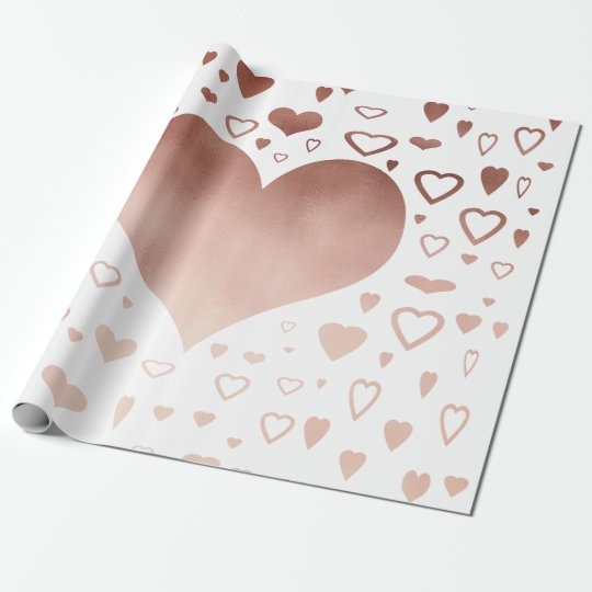 elegant modern faux rose gold hearts pattern wrapping