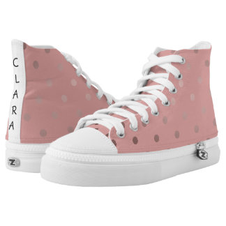elegant modern faux rose gold polka dots pattern high tops