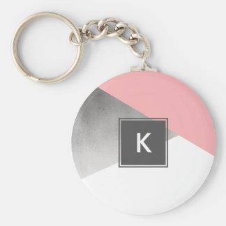 elegant modern faux silver blush pink geometric key ring