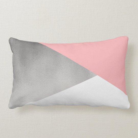 elegant modern faux silver blush pink geometric lumbar