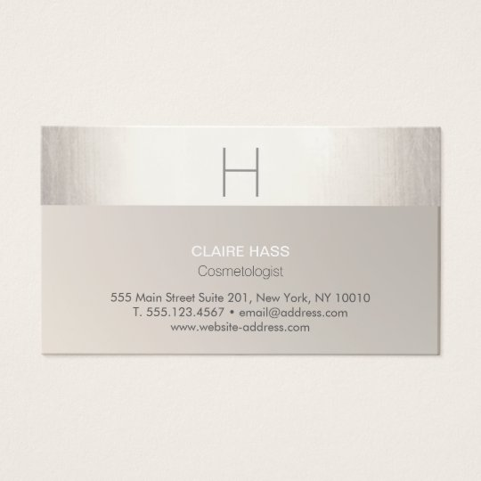 Elegant Modern Faux Silver Foil and Taupe Monogram