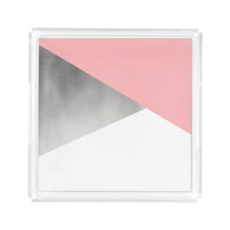 elegant modern faux silver foil pink geometric acrylic tray