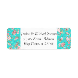 Elegant modern gentle roses teal choose background return address label