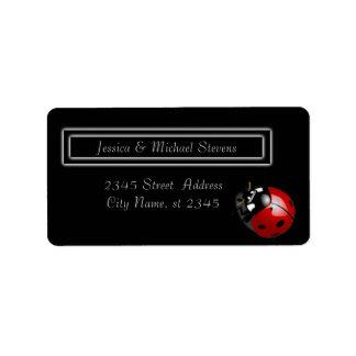 Elegant modern gentle wedding ladybug label