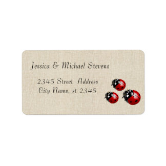 Elegant modern gentle wedding ladybugs label