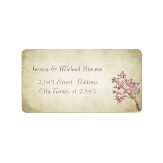 Elegant modern gentle wedding vintage cherry tree address label