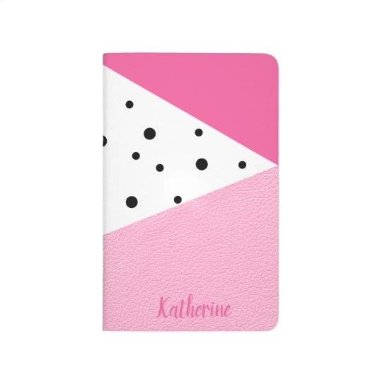 Elegant modern geometric pink leather black dots journal