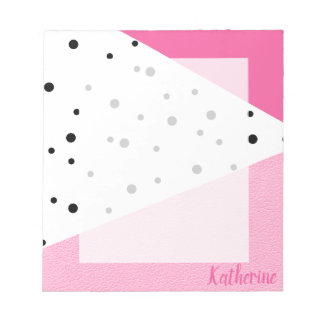 Elegant modern geometric pink leather black dots notepad