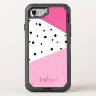 Elegant modern geometric pink leather black dots OtterBox defender iPhone 8/7 case