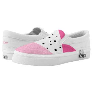 Elegant modern geometric pink leather black dots slip on shoes