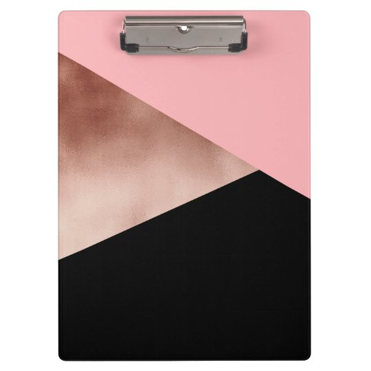 elegant modern geometric rose gold pink black clipboard