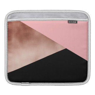 elegant modern geometric rose gold pink black iPad sleeve