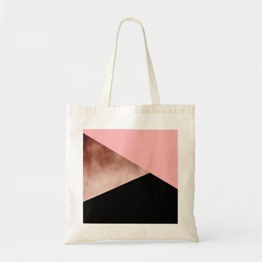 elegant modern geometric rose gold pink black tote