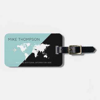 elegant, modern & geometric world travel luggage tag