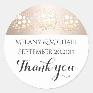 Elegant modern gold/bronze confetti thank you round sticker