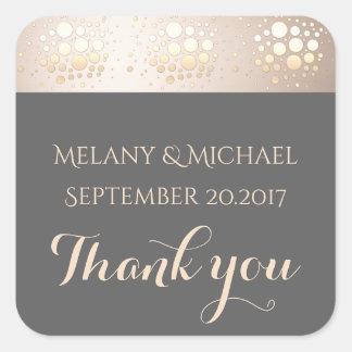 Elegant modern gold/bronze confetti thank you square sticker