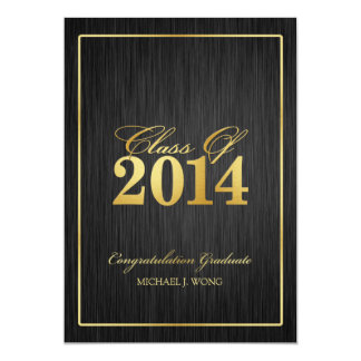 "Elegant Modern Gold Class of 2014 Graduation 5"" X 7"" Invitation Card"