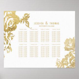 Elegant Modern Gold Floral Seating Chart