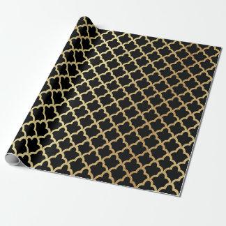 Elegant Modern Gold Foil Moroccan Trellis Black Wrapping Paper