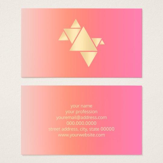 Elegant Modern Gold Geometric Pink Orange Gradient Business