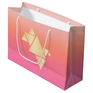 Elegant Modern Gold Geometric Pink Orange Gradient Large Gift Bag