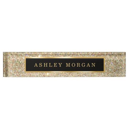 Elegant Modern Gold Glitter Sparkles Nameplate