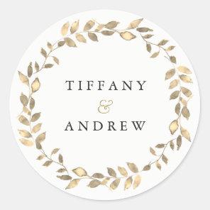 Elegant Modern Gold Leaf Wreath Engagement Party Classic Round Sticker