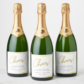 Elegant Modern Gold Personalised Champagne Label
