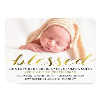 Elegant Modern Gold Script Photo Christening Invitation