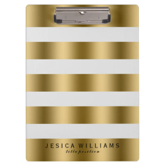 Elegant Modern Gold & White Stripes Pattern Clipboard
