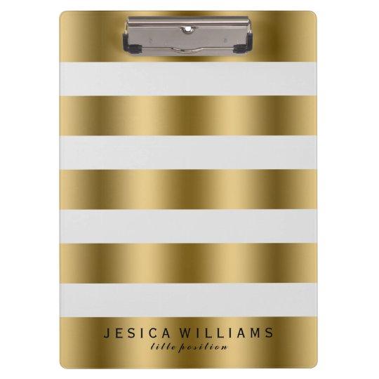 Elegant Modern Gold & White Stripes Pattern Clipboard