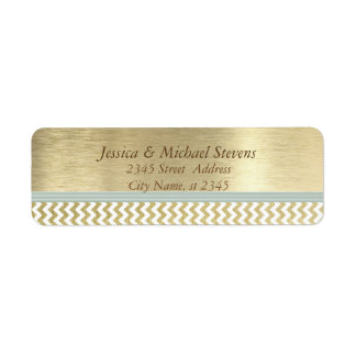 Elegant modern golden chevron return address label