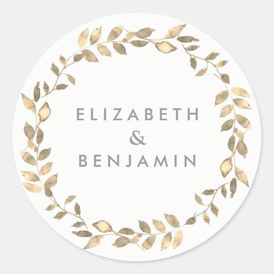 Elegant Modern Golden Leaf Wreath Wedding Classic Round