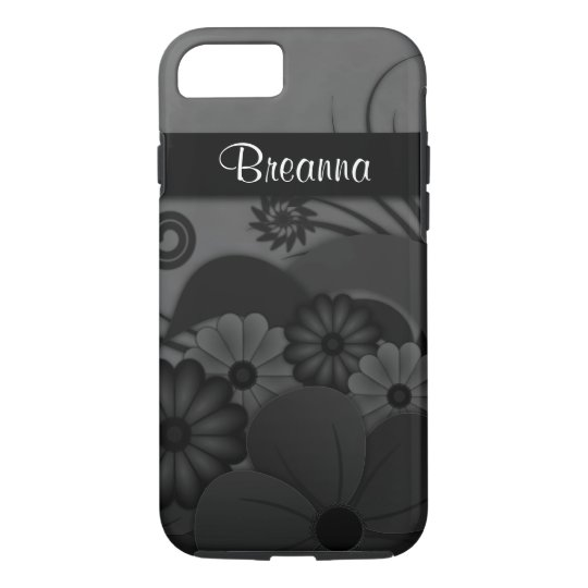 Elegant Modern Gothic Black Floral Hibiscus Tough iPhone 8/7 Case