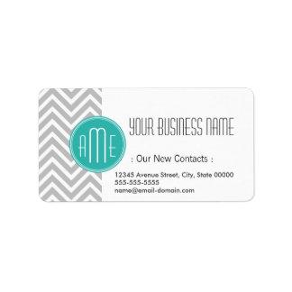 Elegant Modern Gray Chevron and Mint Monogram Address Label