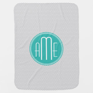 Elegant Modern Gray Chevron and Mint Monogram Baby Blanket